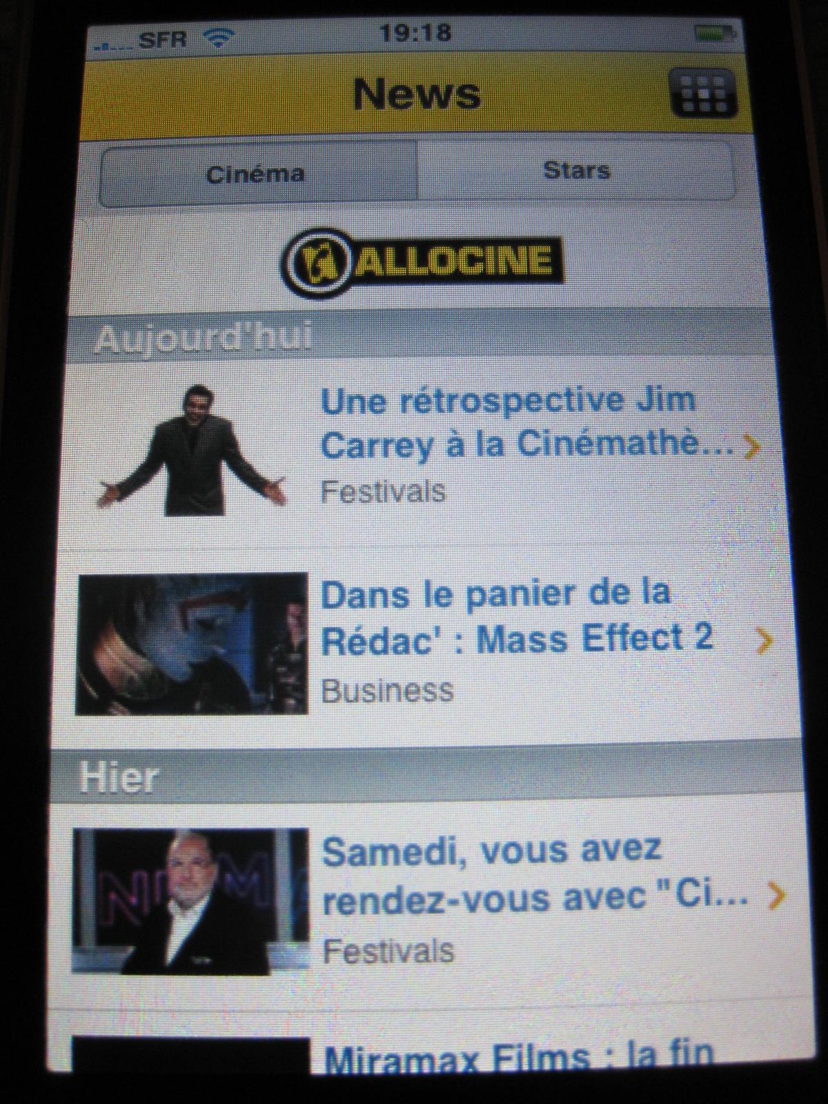 AlloCine Application iPhone