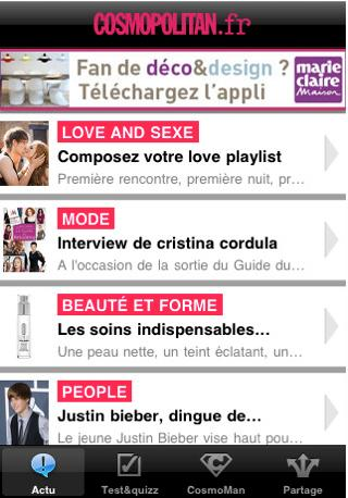 Application iPhone Cosmopolitan